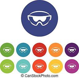 Las gafas de seguridad ponen iconos