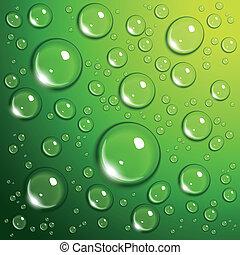 Las gotas de agua en verde