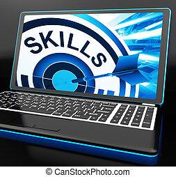 Las habilidades en la laptop muestran grandes habilidades