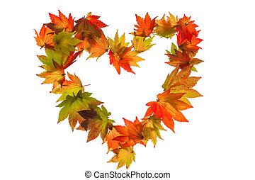 Las hojas coloridas de otoño en forma de corazón