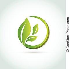 Las hojas de logo curan la naturaleza