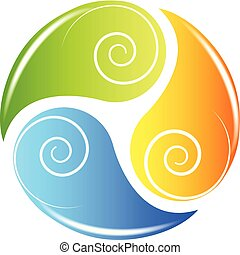 Las hojas de logo reciclan la salud natural