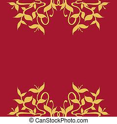 Las hojas doradas y las vides enmarcan la decoración de la frontera