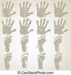 Las huellas de manos y pies