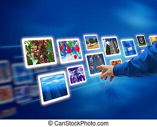 Las imágenes selectas fluyen a mano