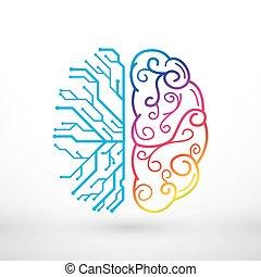 Las líneas abstractas del cerebro izquierdo y derecho funcionan el concepto, el análisis vs creatividad