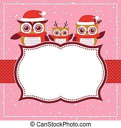 Las lechuzas de cartón son Navidades rojas