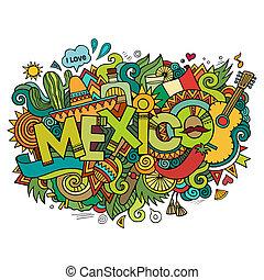 Las letras a mano de México y los garabatos elementos de fondo