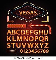 Las letras de la lámpara de neón de vector naranja muestran luz de Las Vegas señal theather