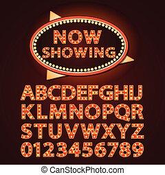 Las letras de la lámpara de neón Vector naranja muestran cine o theather