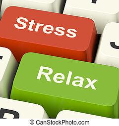 Las llaves de la computadora muestran presión de trabajo o relajación en línea