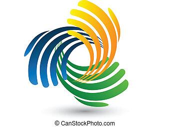 Las manos conectan el logotipo vectorial