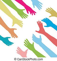 Las manos de la gente alcanzan la conexión