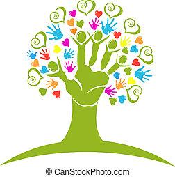 Las manos de los árboles y los corazones figuran logotipo