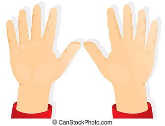 Las manos de los niños, las palmas hacia adelante