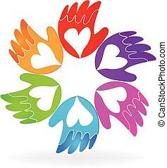 Las manos del logo de vector de amor