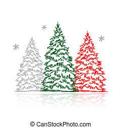 Las manos dibujaban árboles de invierno para tu diseño