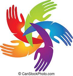 Las manos en el logotipo de colores vivos