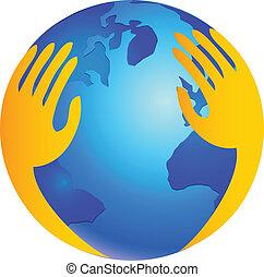 Las manos en el mundo como el logo