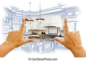 Las manos enmarcando diseño de cocina personalizado y combinatio fotográfico