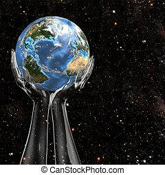 Las manos sostienen la tierra en el espacio