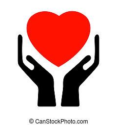 Las manos sujetan el corazón. EPS 8