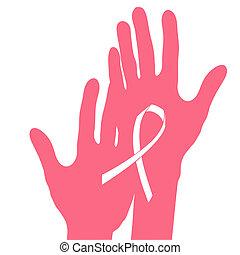 Las manos sujetan la cinta del cáncer de mama, la ilustración del vector.