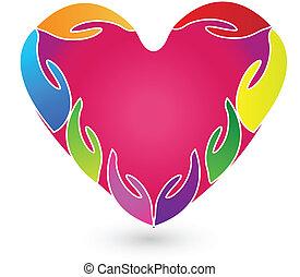 Las manos y el logo del corazón