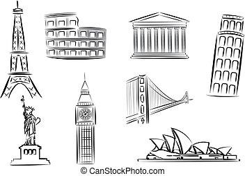 Las marcas de vectores ilustran