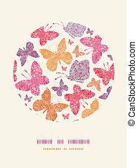 Las mariposas en círculo de flores decoran el fondo