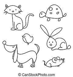 Las mascotas dibujadas a mano
