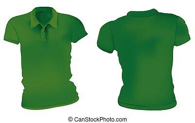 Las mujeres camisas de polo verde