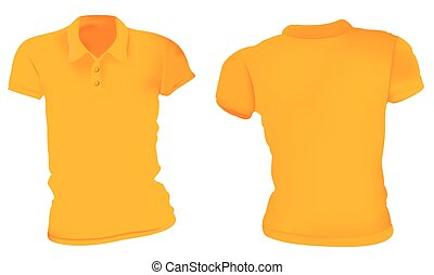 Las mujeres camisas naranjas de polo