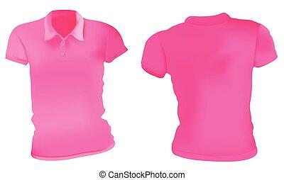 Las mujeres camisas rosas de polo