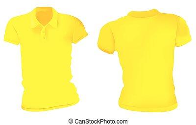 Las mujeres con camisas amarillas de polo
