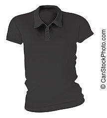 Las mujeres con camisas de polo negras