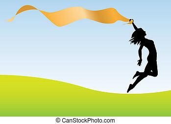 Las mujeres corren, sujetan el cielo de la tierra