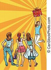 Las mujeres de las tiendas miran a la chica con un don