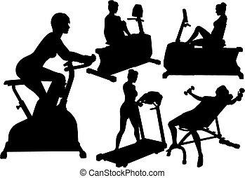 Las mujeres ejercitan ejercicios de gimnasia