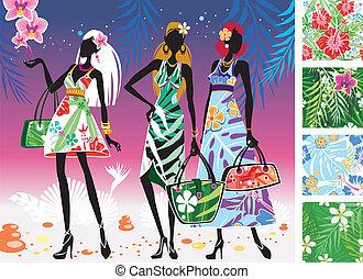 Las mujeres en verano visten con patrones