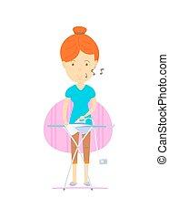 Las mujeres están planchando, madre planchando, ama de casa, el frente de la mujer está planchando, mujer feliz, con un lindo estilo de dibujos animados vectores, ilustraciones coloridas, mujeres tarareando, rutina diaria