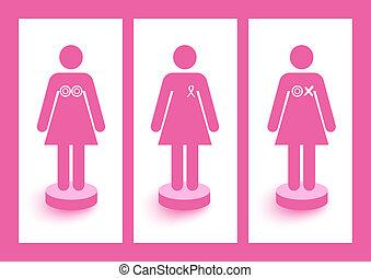 Las mujeres figuran con cintas y símbolos de la conciencia del cáncer de mama y de la campaña de prevención. El archivo de vector EPS10 organizado en capas para la edición fácil.
