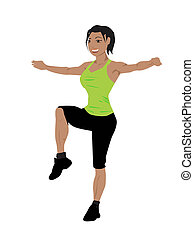 Las mujeres robustas hacen ejercicio