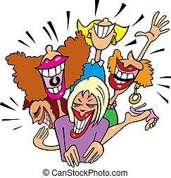 Las mujeres se divierten y se ríen