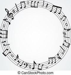 Las notas de música bordean