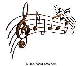 Las notas musicales 3D se aislan sobre el blanco