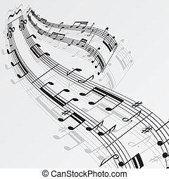 Las notas musicales agitan el fondo