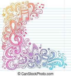 """Las notas musicales dibujan """"G clef"""