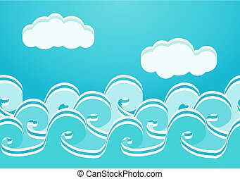 Las olas del mar no tienen marcas, ilustración vectorial