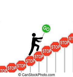 Las personas superan las señales de alto elevan la señal
